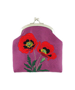 Embroidered Poppy Coin Purse- Purple
