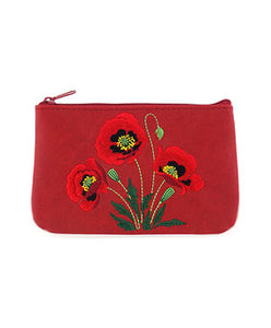 Embroidered Poppy Pouch