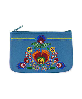 Embroidered Polska Flower Coin Pouch- Blue