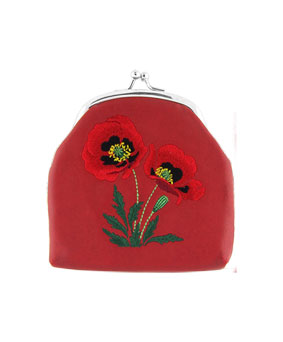 Embroidered Poppy Coin Purse- Red