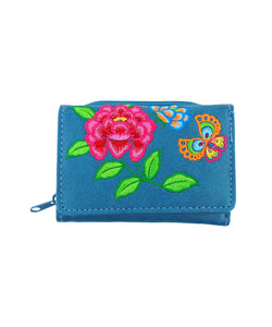 Embroidered Peony & butterfly Small Wallet- Blue