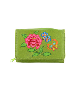 Embroidered Peony & butterfly Small Wallet- Green