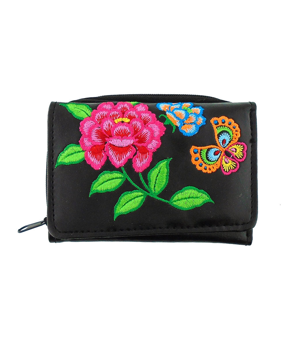 Embroidered Peony & butterfly Small Wallet- Black