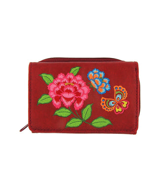 Embroidered Peony & butterfly Small Wallet- Red