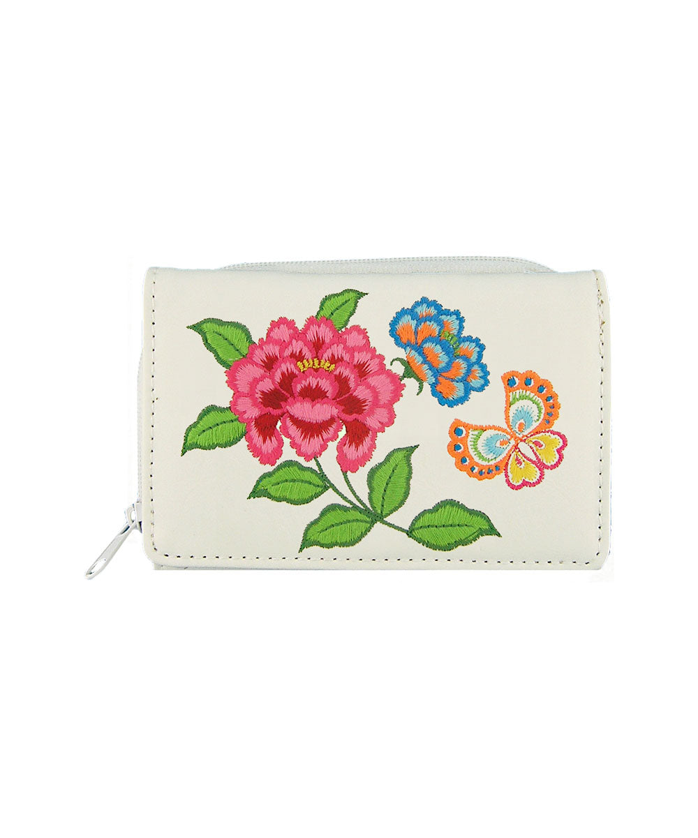 Embroidered Peony & butterfly Small Wallet- White