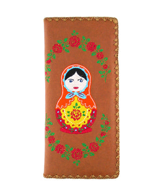 Embroidered Matryoshka Doll Large Wallet- Brown
