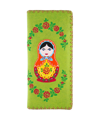 Embroidered Matryoshka Doll Large Wallet- Green