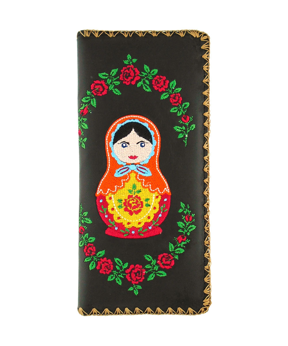 Embroidered Matryoshka Doll Large Wallet- Black