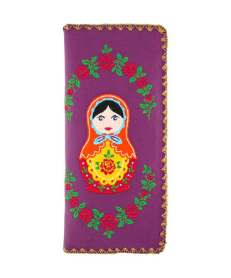 Embroidered Matryoshka Doll Large Wallet- Purple