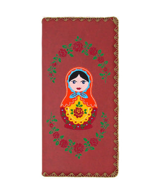 Embroidered Matryoshka Doll Large Wallet- Red