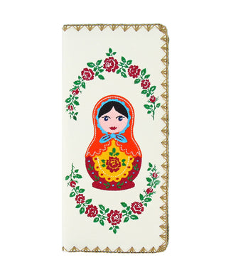 Embroidered Matryoshka Doll Large Wallet- White
