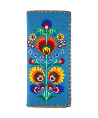 Embroidered Polska Flower Large Slim Wallet- Blue