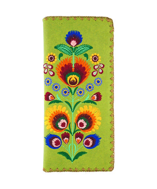 Embroidered Polska Flower Large Slim Wallet- Green