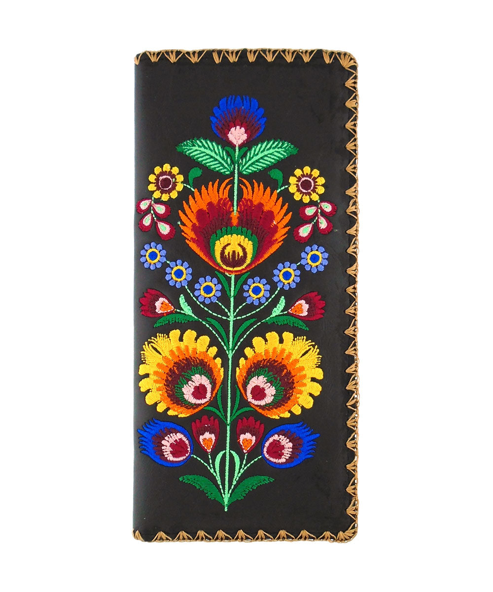 Embroidered Polska Flower Large Slim Wallet- Black