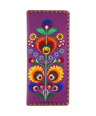 Embroidered Polska Flower Large Slim Wallet- Purple