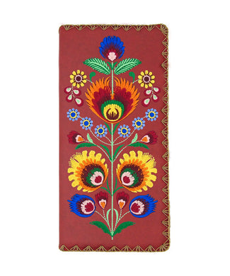 Embroidered Polska Flower Large Slim Wallet- Red