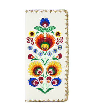 Embroidered Polska Flower Large Slim Wallet- White