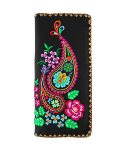 Paisley Pattern Embroidered Large Wallet