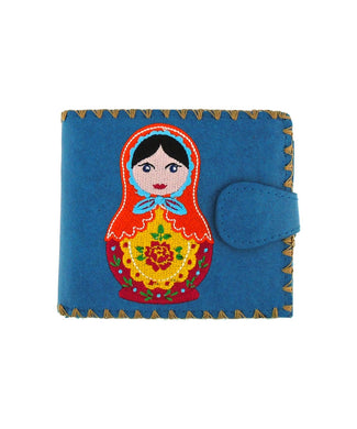 Embroidered Matryoshka Doll Medium Wallet- Blue