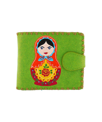 Embroidered Matryoshka Doll Medium Wallet- Green