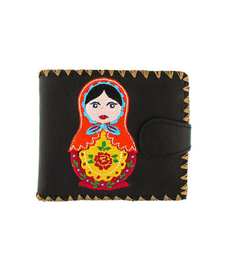 Embroidered Matryoshka Doll Medium Wallet- Black