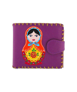 Embroidered Matryoshka Doll Medium Wallet- Purple