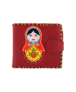 Embroidered Matryoshka Doll Medium Wallet- Red