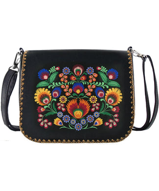 Embroidered Polska Flower Cross Body Bag