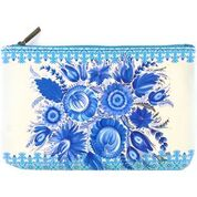 Load image into Gallery viewer, Ukrainian Petrykivka style flower print makeup pouch