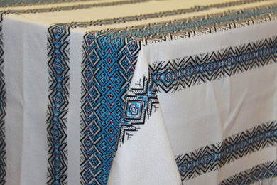 Blue Stripe Woven Tablecloth 59