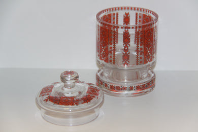 Covered Glass Candy Canister