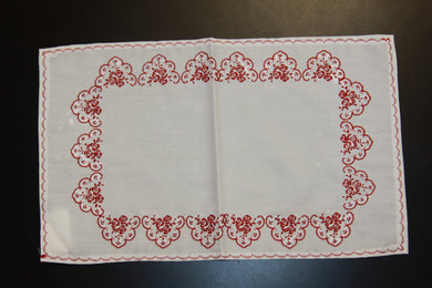 Embroidered Red Roses Napkin 16.25