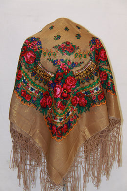 Traditional Gold Thread Hustka Taupe