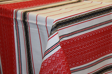 Red & Black Stripe Woven Tablecloth 57