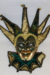 Jester Masquerade Mask Dark Green