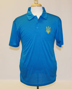 Men's Lightweight Tryzub Golf Shirt Blue Wake