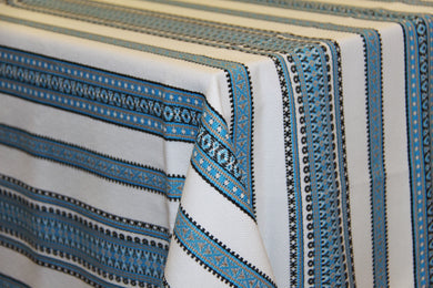 Blue & Grey Stripe Woven Tablecloth 56