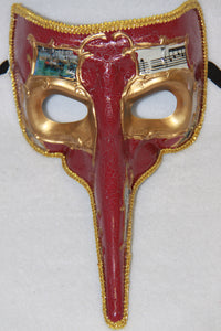 Masquerade Mask with Beak Red
