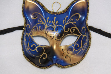 Cat Masquerade Face Mask Blue