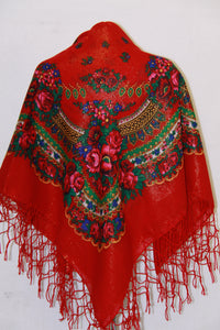 Traditional Gold Thread Hustka Red