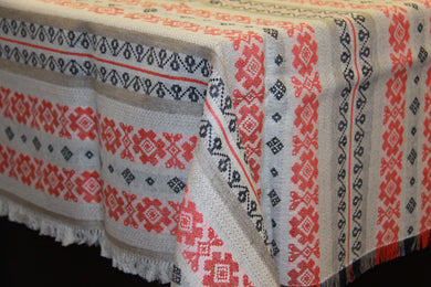 Red & Grey Stripe Woven Tablecloth 62