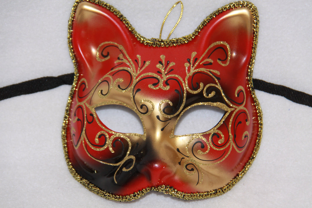 Cat Masquerade Face Mask Red