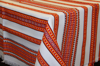 Red & Gold Stripe Woven Tablecloth 58