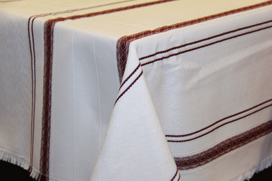 Burgundy Stripe Woven Tablecloth 55
