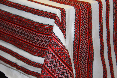 Woven Red & Black Bulk Tablecloth (Sold by Metre)