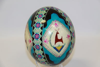 Blue Ostrich Egg with Deer