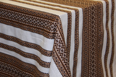 Woven Brown Bulk Tablecloth (Sold by Metre)