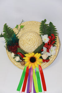 Straw Hat with Ribbons Good Luck Charm