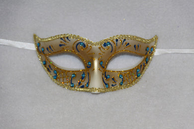 Masquerade Mask Blue & Gold