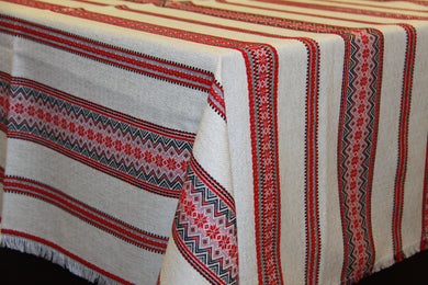 Red & Black Natural look Woven Tablecloth 57